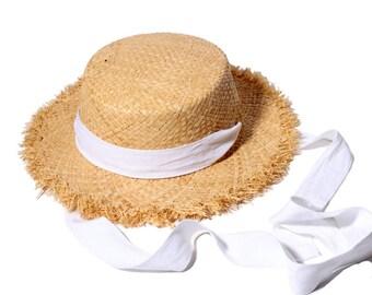 Bind with the bowknot burrs lafite costume hat children summer beach hat sun hat