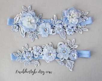 Blue Lace and Flowers Wedding Garter Set,Something Blue Wedding Garter, Bridal Garter Belt - 1801