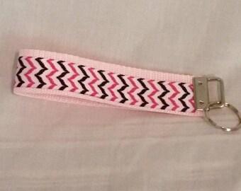 Pink and Blue Key Fob/Wristlet/keychain/key fob/accessories/lanyards/chevron key fob//key ring/key fob/key chain/key lanyard/pink key fob