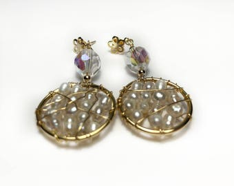 Handmade Earrings made with Cultured Pearl and Gold Filled