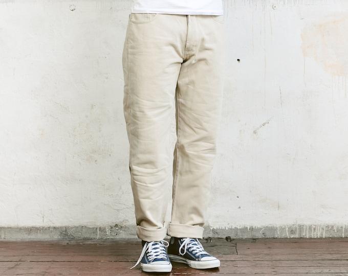 80s Pierre Cardin Jeans . Vintage Tapered 80s Jeans Beige Denim Jeans Mens Denim Trousers Straight Leg Beige Jeans Normcore . size Medium M