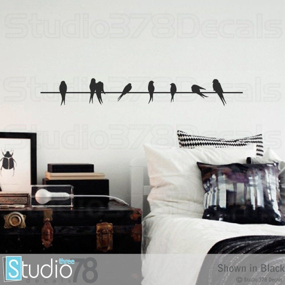 """Wall Decals Birds On A Wire Vinyl Decal - Home Decor - Lovebirds - Sparrows - Modern Wall Art - SALE - Clearance - 36"""""""