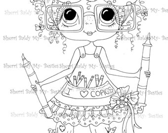 INSTANT DOWNLOAD Digital Digi Stamps Big Eye Big Head Dolls Copic Girl Bestie By Sherri Baldy