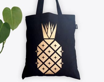 Disco Pineapple Gold Foil Tote Bag