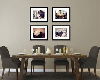 Food Photography - Kitchen Art - Coffee Love - Set of Four (4) Coffee Photos - Fine Art Photography Prints - Kitchen/Dining Room Decor
