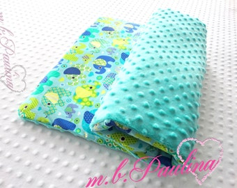 Turquoise Elephant baby blanket with cuddly turquoise plush Minky, personalization possible