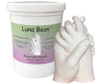 DIY Luna Bean Keepsake Hands 3D Plaster Statue Hand Casting Kit - Create a stone replica of couple, parent & baby, wedding, anniversary