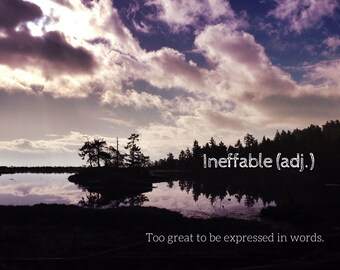 Ineffable, Photo Greeting Card, 4x5 inspirational cards, blank inside, travel inspiration landscape, life event congratulations typography