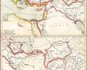 1893 Kingdoms of the Diadochi in the 3rd Century B.C. - Successors of Alexander the Great: Antigonids, Seleucids, Ptolemies Antique Map