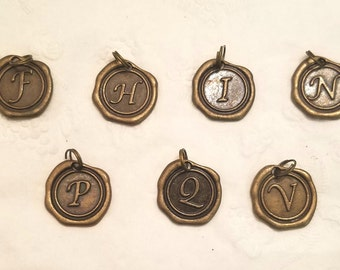 Bronze Antiqued Wax Seal Lettered Charms