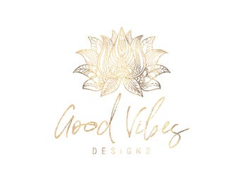 Premade Logo Watermark Lotus Flower Boho Logo Photography Logo Boutique Logo Blog Logo Photography Watermark New Age Logo Bohemian Logo