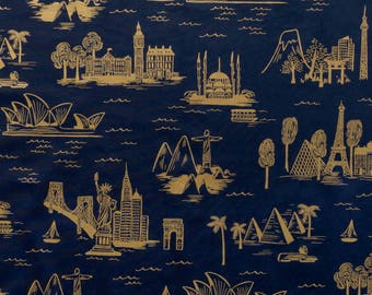 City Toile Gold Navy blue Rifle Paper Company Fabric