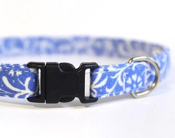 Blue Cat Collar Floral | Breakaway Cat Collar | Handmade | Adjustable | Small Dog Collar | Pet Collar | Safety Cat Collar |Floral Dog Collar