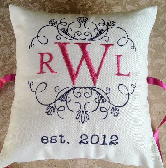 Monogram Wedding Ring Bearer Pillow: Personalized Ring Bearer Pillow III RB107 Ring Bearer