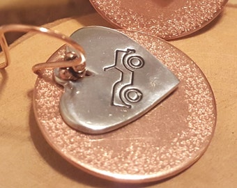 I heart my Jeep hand stamped and polished layered copper and pewter earrings with copper french hook earwires OIIIIIIIO