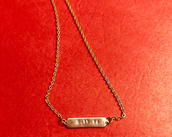 Large Bar Necklace Two-Toned - Personalized