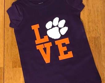Kids Clemson Love Shirt***FREE SHIPPING***