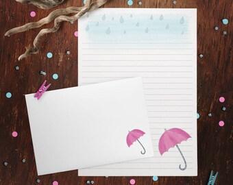 Regnerischen Tag Brief Schreibset