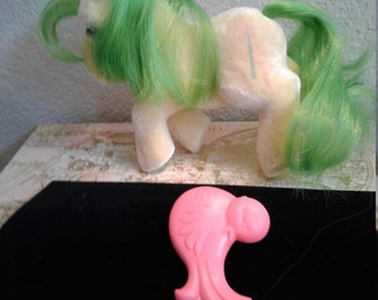 Vintage G1 My Little Pony - So Soft Pony - Magic Star with Hot Coral-pink Bird Brush