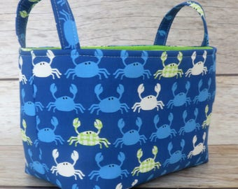 Ready to Ship - Storage Fabric Organizer Bin Container Basket - Don't Be Crabby Nautical Seaside Ocean Fabric