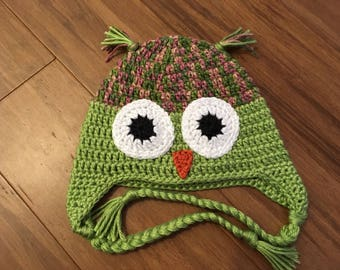 Green and Pink Multi Owl Handmade Crochet Hat Infant Toddler Child Teen Adult