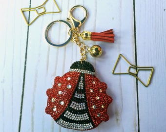 Bling Ladybug Keychain Planner Charm