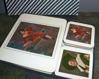 Vintage Coasters and Placemats Cork Backed England Cambridge Series Old Masters 12 pieces Cotswood