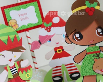 Printable Paper Dolls for Christmas Holiday Season with coloring sheets