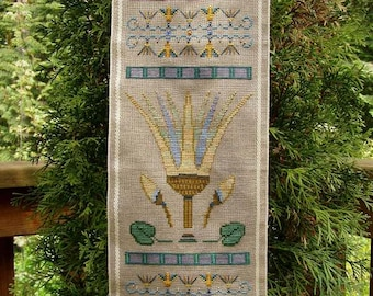 Ancient Egyptian Cross Stitch Instant Download Pattern Lotus! Counted Embroidery Chart. Fertility, Rebirth X Stitch. Band Sampler.