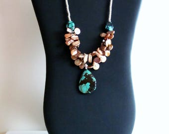 Turquoise Necklace, Beaded Necklace, Statement necklace, Pearl Necklace,