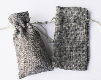 48 SMALL Grey Burlap Bags Natural Pouch Pouches Jewelry Party Favor 2 7/8 x 4 Linen Gray Jewelry Packaging