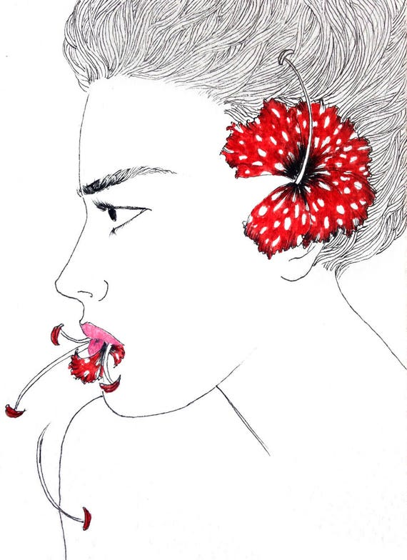I can't mould this stage. Postcard drawing //small size art // illustration // figurative art // woman portrait // floral // face