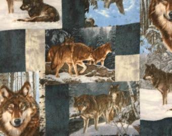 "Wolf Design  Patchwork (Lap Quilt /Throw) Fleece (60"" H   70"" W) Hand Sewn New"