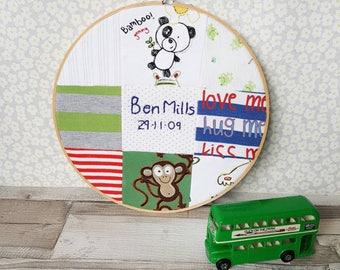 Clothing Memory Hoop ~ baby memory patchwork ~ loved one keepsake 29cm hoop