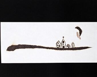 Table of textile art of bobbin lace, copper foil, Villages and burnt paper