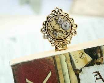 Bookmark book lover gift Steampunk Bookmark with Watch Movement Graduation Gifts for Reader Bronze Bookmark Metal Book Mark