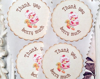 Thank You Berry Much Strawberry Shortcake Stickers (8) - Strawberry Party-Strawberry Birthday-Favor Stickers-Strawberry Thank You Sticker