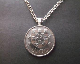 Portuguesa Coin Necklace -  Portuguesa Coin Pendant  with Coat of Arms - Portugal Coin Necklace