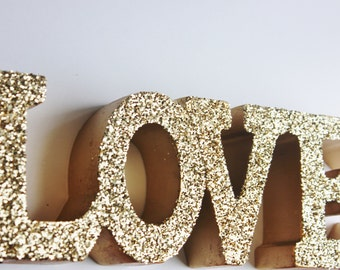 Sale GOLD LOVE SIGN Glittered Golden Love Letters Signage Free Standing Vintage Weddings Resin Candy Buffet Valentines Day Photo Prop