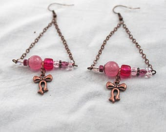 """Pink Triangle and small knot"" earrings"