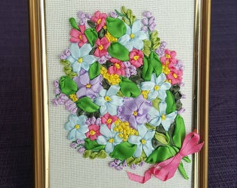 Charming atlas ribbon embroidery bouquet