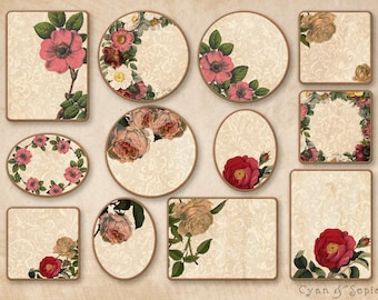 Printable PDF Gift Tags - Vintage Roses - Any Occasion - Floral Antique Pink Ivory Victorian Christmas Mother's Day Tea Party Valentine's