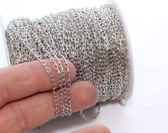 2 meters Free Nickel Soldered Chain (3 mm) -Curb Chain , BXB74-1