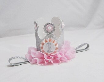Mini Silver Glitter Crown Headband, Winter Onederland, 1st Birthday Girl, Mini Party Hat, Cake Smash, Photo Prop, Pink and Silver Crown