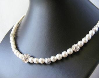 Necklace «Méline' white and silver - Aucrea wedding Collection