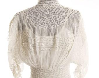 Restored Victorian White Batiste Wedding Gown/ Graduation Dress. Size 4 - item 117, Victorians