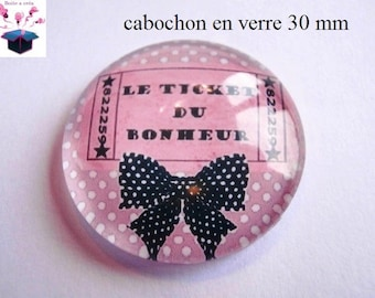 1 cabochon clear 30 mm for pendant or hanging bag happiness