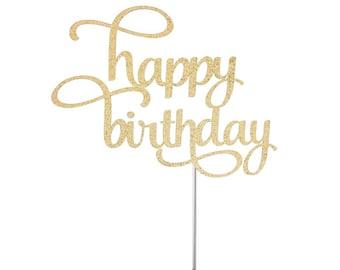 Happy Birthday Cake Topper, Glitter Birthday Cake Topper, 50th birthday, milestone birthday, party decorations, party decor, glitter topper