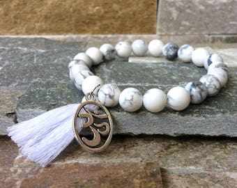 OM bracelet turquoise tassel mala bracelet