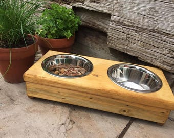 Elevated Dog Bowls Stand - Wooden - 2 Bowls - Raised Dog Food and Water Bowls